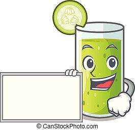 karakter, sap, komkommer, plank, fris, groene