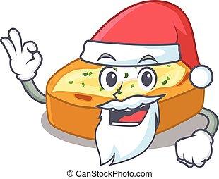 karakter, schattig, gebakken aardappels, kerstman, vinger, ok, spotprent