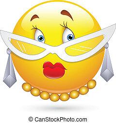 karakter, smiley, dame, bril
