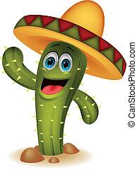 karakter, spotprent, cactus, schattig
