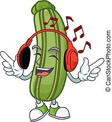 karakter, spotprent, het luisteren, het zingen, muziek, zucchini