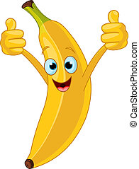 karakter, spotprent, vrolijk, banaan