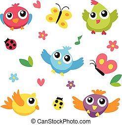 karakter, vector, ontwerp, vogels