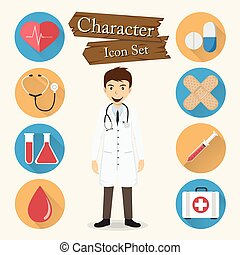 karakter, vector, set, arts, pictogram