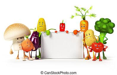 karakter, voedingsmiddelen, groente, -