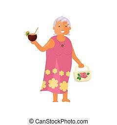 karakter, vrouw, oud