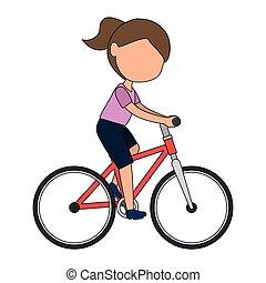 karakter, weinig; niet zo(veel), fiets, meisje, paardrijden