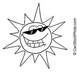 karakter, zon, koel, schets