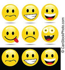 karakters, emoticons, gele