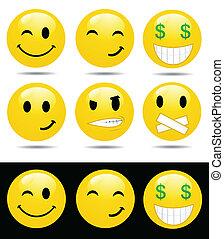 karakters, gele, emoties