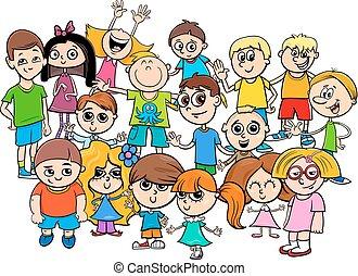 karakters, groep, kinderen, illustratie, spotprent