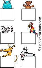 karakters, kaarten, verzameling, dier, spotprent