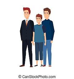 karakters, mannen, groep, avatars, zakelijk