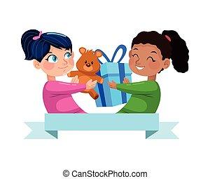 karakters, meiden, cadeau, schattig, weinig; niet zo(veel), hart