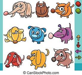 karakters, spel, honden, illustratie, spotprent