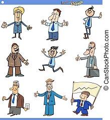 karakters, spotprent, of, set, mannen, zakenlieden
