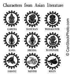 karakters, van, aziaat, literatuur