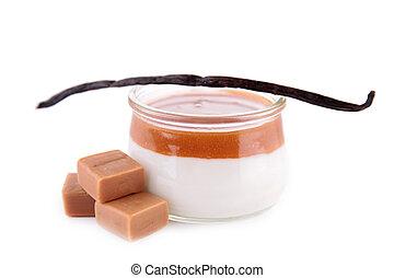 karamell, creme, nachtisch