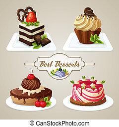 karamell, tårtor, sätta, efterrätt