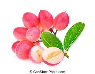 karanda or carunda tropical fruit isolated on white background