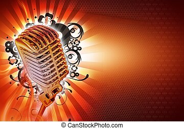 Karaoke Background Design. Cool Retro Style Microphone with Floral Rays and Lights Background. Horizontal Karaoke Theme. Ready to Use Copy Space.