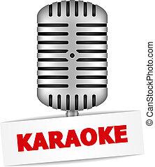 Karaoke Banner - Karaoke banner with a microphone, vector...