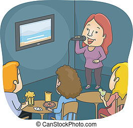 Karaoke Bar - Illustration Featuring a Woman Singing in a...