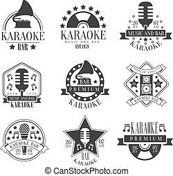 Karaoke Club Black And White Emblems