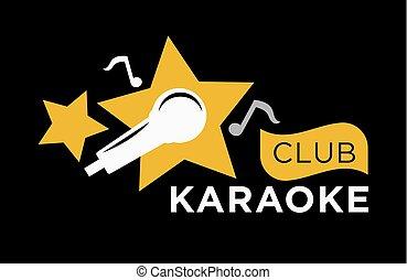 karaoke, club, icona, sagoma, di, vettore, note musica, etichetta, microfono, e, stelle