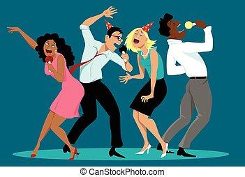 Karaoke - Diverse group of friends singing karaoke at a...