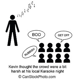 Karaoke - Kevin gives it his all cartoon isolated on white...