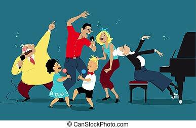 karaoke, família, noturna