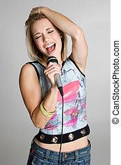 karaoke, flicka, sjungande