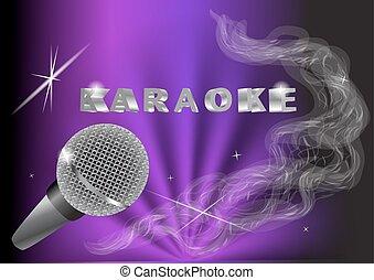 karaoke. live music background.vintage microphone and light