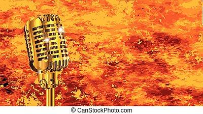 karaoke, microphone, feu