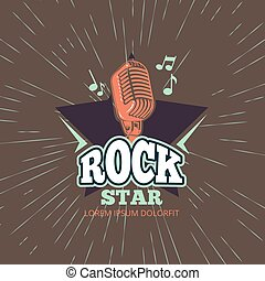 Karaoke music club, audio record studio vector logo with microphone and star