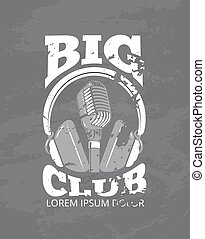 Karaoke music club, audio record studio vector logo with microphone, headphones