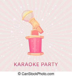 Karaoke musical party for girls poster vector illustration with pink microphone on vintage background.