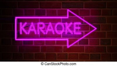 Karaoke neon sign glowing above bar or open mic establishment. Entertainment studio for performing songs or singing - 4k