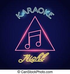 karaoke night word calligraphy with music note neon lights ...