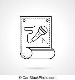 Karaoke poster flat line vector icon