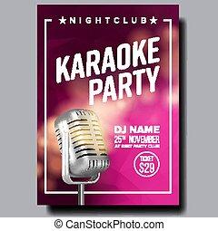 Karaoke Poster Vector. Party Flyer. Karaoke Music Night....