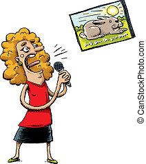 Karaoke Singer - A cartoon woman reads from a screen and ...