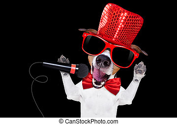 karaoke singing dog
