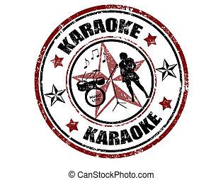 Karaoke stamp - Grunge rubber stamp with word karaoke...