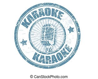 grunge rubber stamp with microphone shape and the word karaoke written inside, vector illustration
