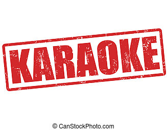 Karaoke grunge rubber stamp on white, vector illustration