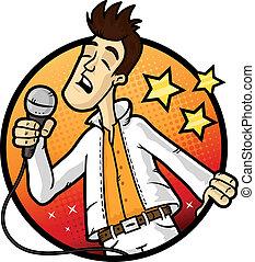 Emotional man singing karaoke in the microphone vector cartoon illustration.