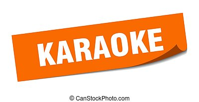 karaoke sticker. square isolated label sign. peeler - ...