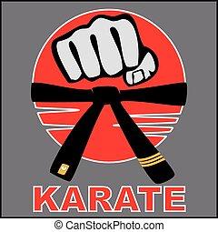 karaté, bjj, poing, ceinture, logo, fort